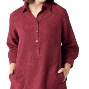 22W Joan Rivers Faux Suede Shirt Back Button Plus